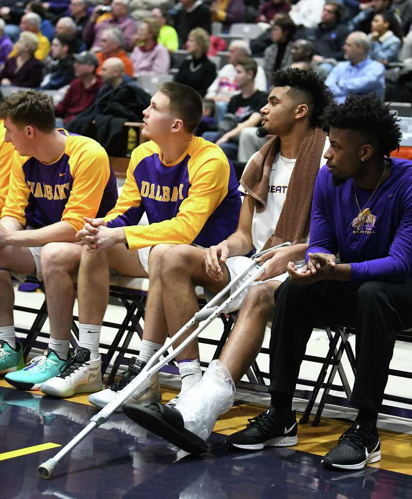 University at Albany's Malachi de Sousa is seen with a crutch and his ankle wrapped in the second half of a game against Lowell at SEFCU Arena on Wednesday, Jan. 22, 2020 in Albany, N.Y. (Lori Van Buren/Times Union)