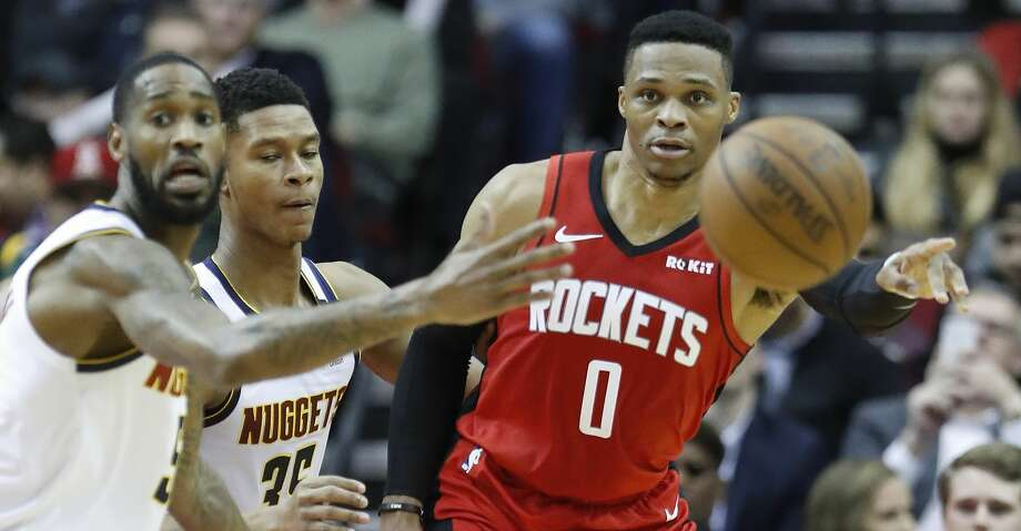 Houston Rockets guard Russell Westbrook (0) passes the ball during the second half of an NBA basketball game at Toyota Center in Houston, Wednesday, Jan. 22, 2020. Photo: Karen Warren/Staff Photographer