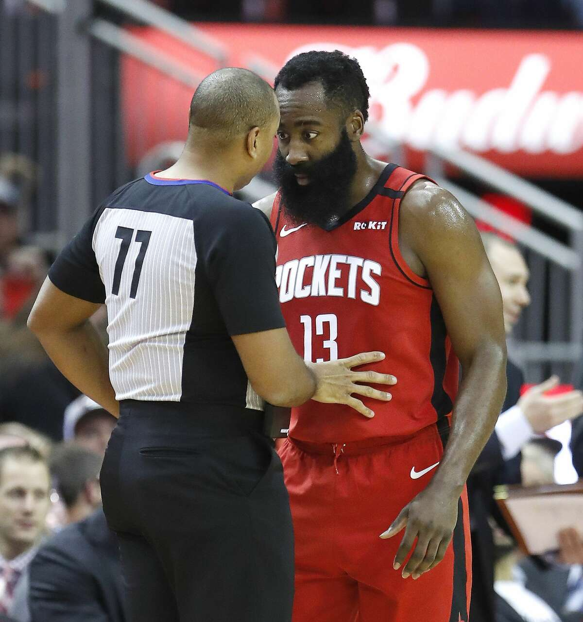 Houston Rockets guard James Harden (13) argues a call with referee Karl Lane (77) during the first half of an NBA basketball game at Toyota Center in Houston, Wednesday, Jan. 22, 2020.