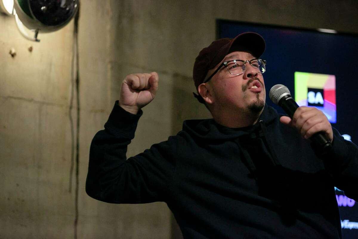 Bestselling author and San Antonio native Shea Serrano discusses some of his favorite subjects - movies, basketball, rap music and the Alamo City - during a San Antonio Talks event held at Below at The Maverick downtown.
