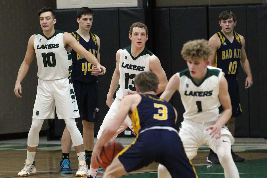 The Bad Axe boys basketball team topped host Laker, 46-22, on Wednesday, Jan. 22, for its seventh win of the season. Photo: Mark Birdsall/Huron Daily Tribune