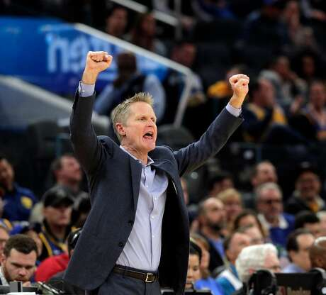 Steve Kerr gestures to his players in the first half as the Golden State Warriors played the Utah Jazz at Chase Center in San Francisco, Calif., on Wednesday, January 22, 2020.