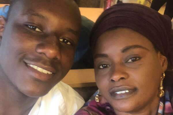 Mubarak Soulemane with his mother, Omo Mohammad