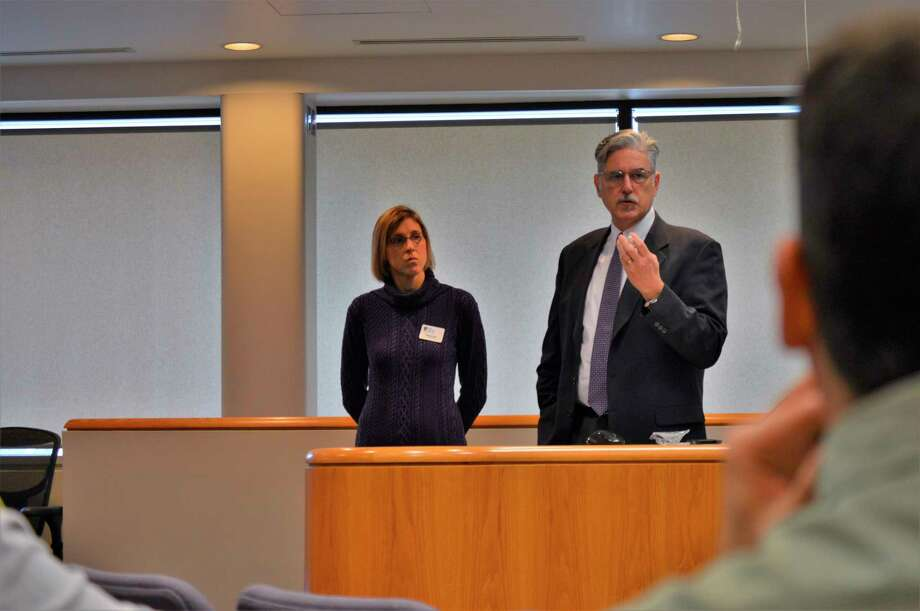 Cathryn Tate, president and CEO of the Legacy Center for Community Success, and Sam Price, president and CEO of Ten16 Recovery Network, presented on substance abuse efforts and demonstrated how to use Narcan, a drug that can treat opioid overdoses in emergency situations. (Ashley Schafer/Ashley.Schafer@hearstnp.com)