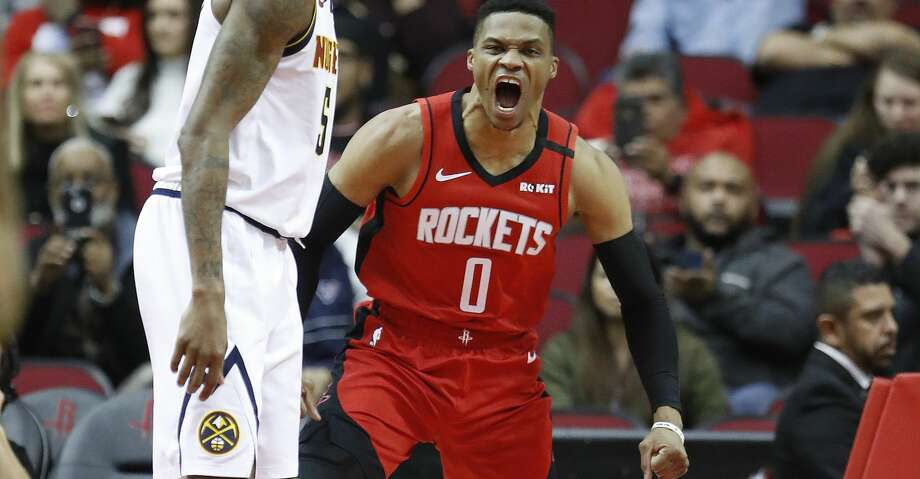 Houston Rockets guard Russell Westbrook (0) screams after he scored a basket during the second half of an NBA basketball game at Toyota Center in Houston, Wednesday, Jan. 22, 2020. Photo: Karen Warren/Staff Photographer