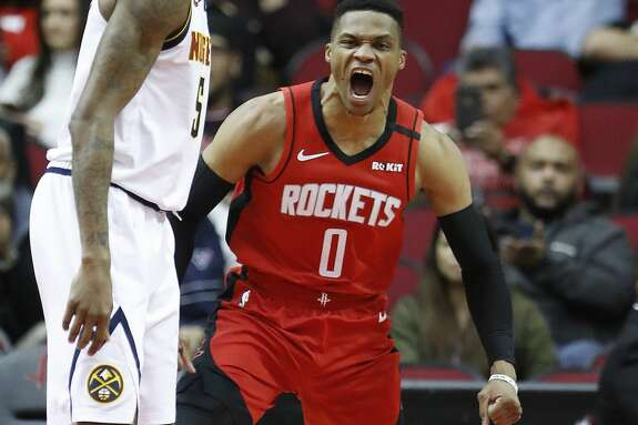 Houston Rockets guard Russell Westbrook (0) screams after he scored a basket during the second half of an NBA basketball game at Toyota Center in Houston, Wednesday, Jan. 22, 2020.