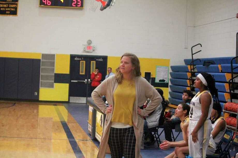 Baldwin girls basketball coach Nikki Bergman watches her team in recent action. (Star photo/John Raffel)