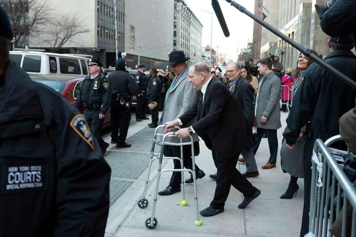 Harvey Weinstein leaves a Manhattan courthouse following a day in his trial on rape and sexual assault charges, Wednesday, Jan. 22, 2020 in New York.