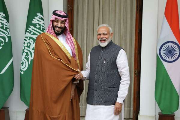 Mohammed Bin Salman, Saudi Arabia's crown prince, with Indian Prime Minister Narendra Modi in New Delhi on Feb. 20, 2019.