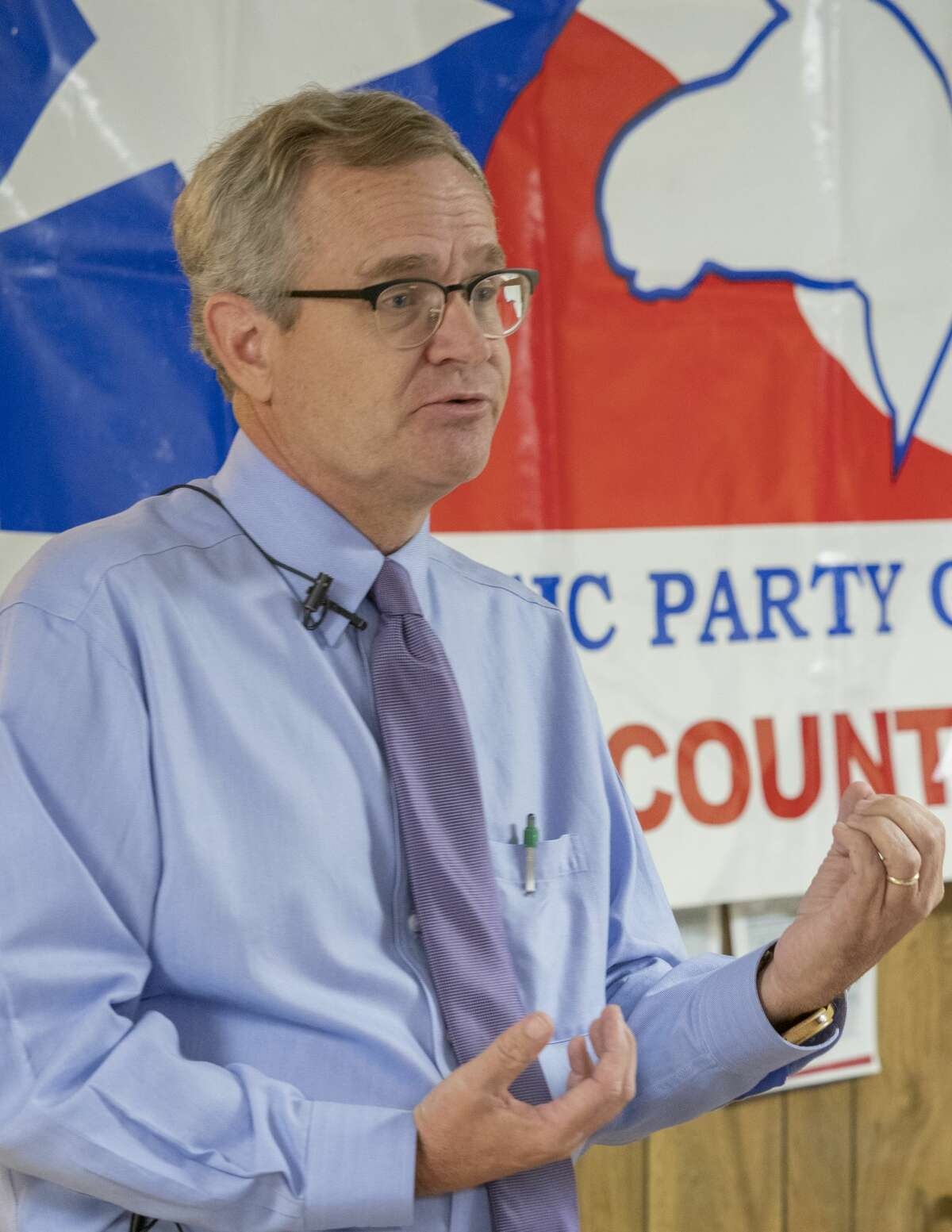 Jon Mark Hogg, running for the Texas' 11th Congressional District, speaks 01/22/2020 at the Midland County Democratic headquarters. Tim Fischer/Reporter-Telegram
