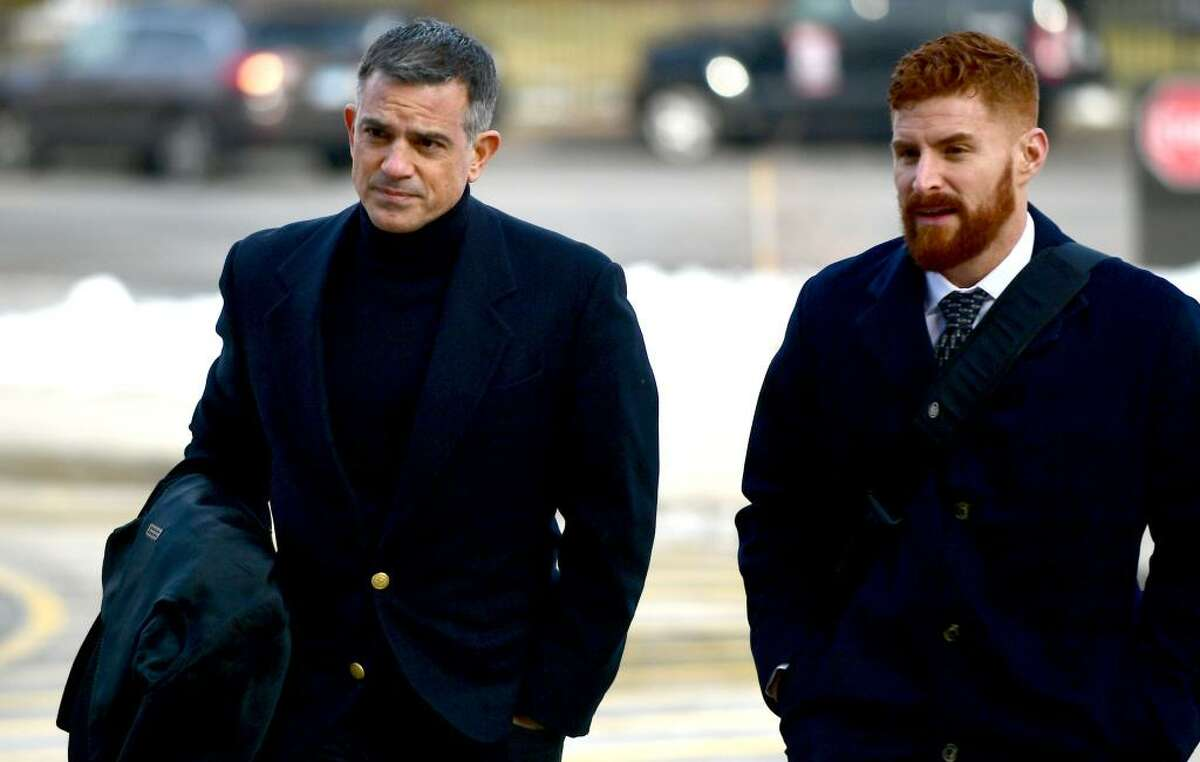 Fotis Dulos, left, arrives with one of his attorneys, Chris La Tronica, for a hearing Thursday at state Superior Court in Stamford.