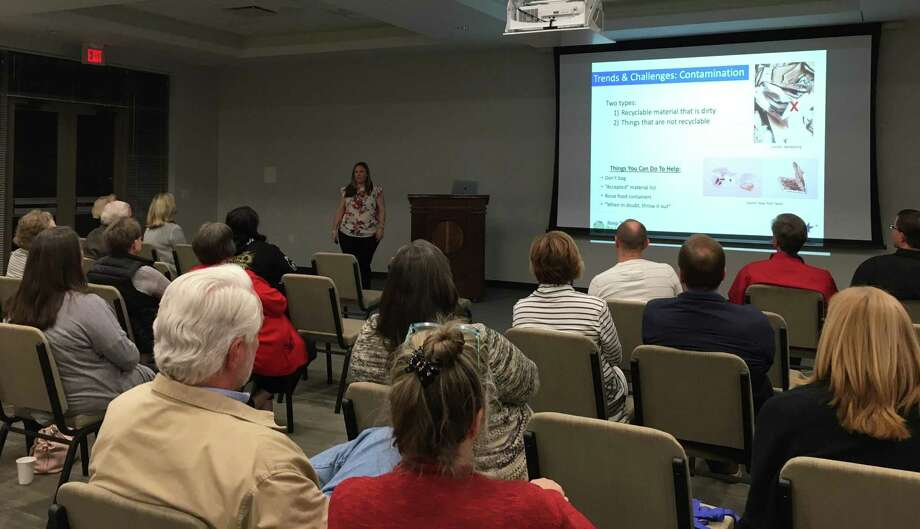 "Sara Nichols, program director, Keep Texas Beautiful, talked about trends and challenges facing recycling during a Jan. 20 program ""Trash Talk"" at the Katy Civic Center. Photo: Karen Zurawski / Karen Zurawski"