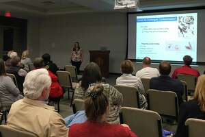"""Sara Nichols, program director, Keep Texas Beautiful, talked about trends and challenges facing recycling during a Jan. 20 program """"Trash Talk"""" at the Katy Civic Center."""