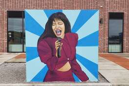 Selena cube mural at BakerRipley in the East End.