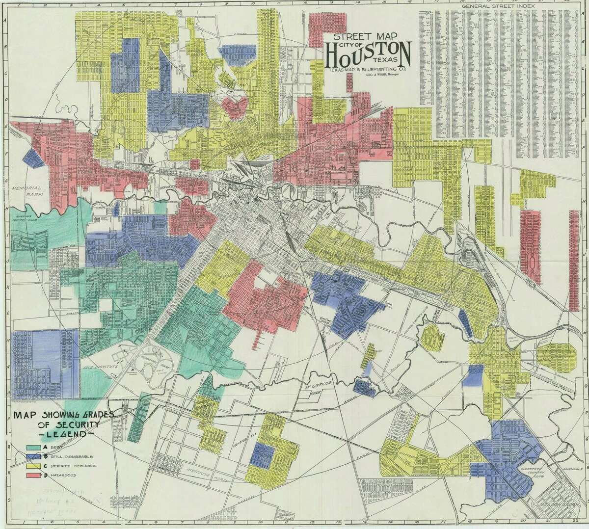 The Home Owners' Loan Corporation (HOLC) map of Houston was created by a New Deal program of the federal government in the 1930s and is commonly known as