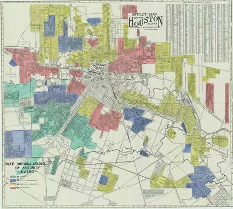 "The Home Owners' Loan Corporation (HOLC) map of Houston was created by a New Deal program of the federal government in the 1930s and is commonly known as ""redlining."" Areas shown in red were labelled ""hazardous,"""