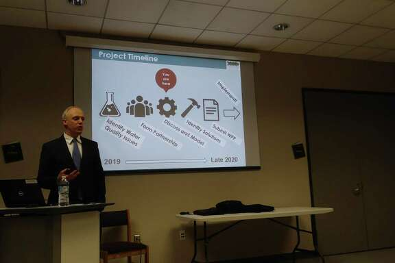 Justin Bower, senior planner with H-GAC, led the open meeting of the Cypress Creek Partnership on Jan. 16, discussing progress the group has made so far.