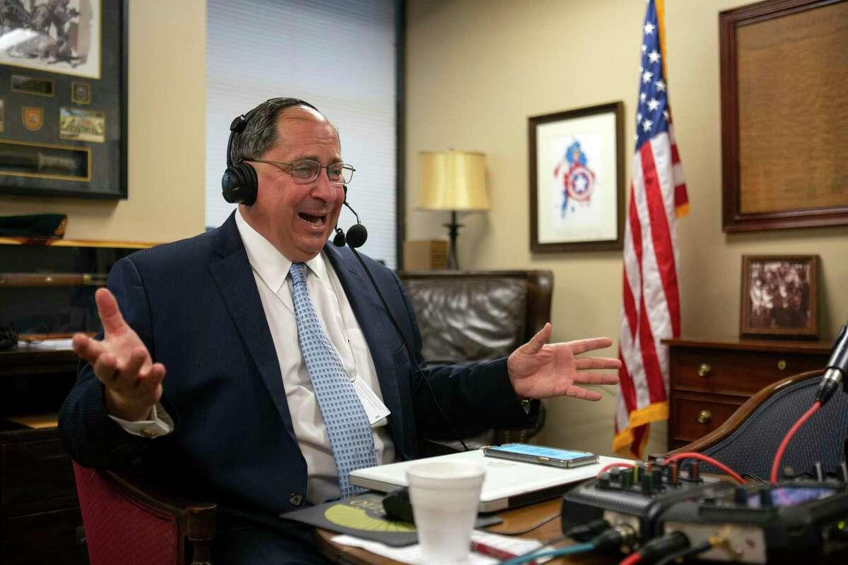 Conservative radio host John Fredericks broadcasts his morning show in the office of Virginia Del. Nicholas J. Freitas, R-Culpeper.