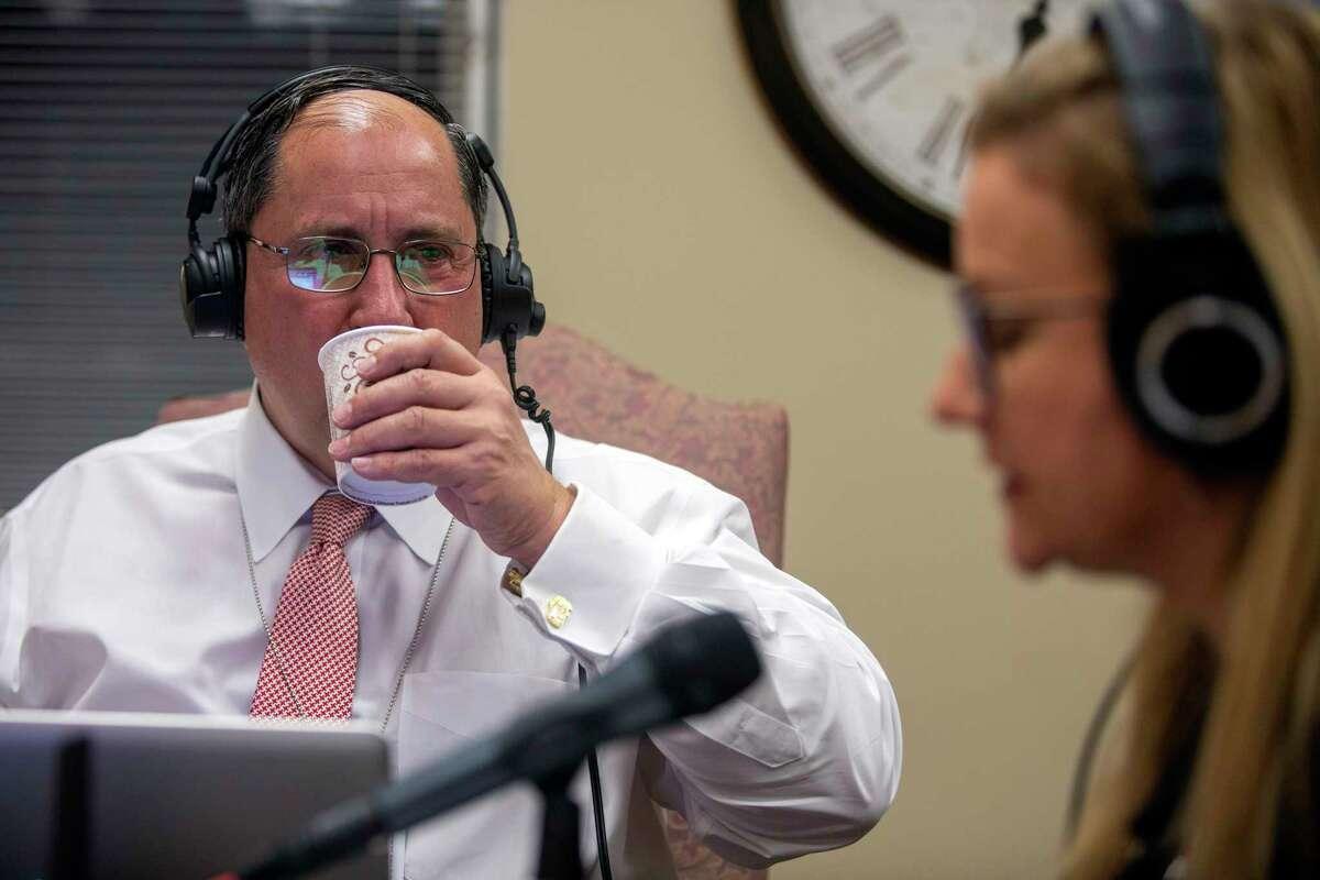 Conservative radio host John Fredericks interviews Virginia State Sen. Amanda Chase, R-Chesterfield, in her office.