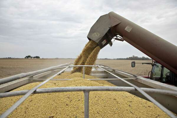 Soybeans are unloaded from a grain wagon during harvest in Wyanet, Ill., on Oct. 19, 2019.