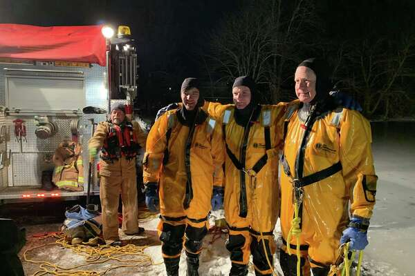 With temperatures in the teens on Monday, Jan. 21, 2020, Redding Fire & EMS Company #1 practiced an ice rescue.
