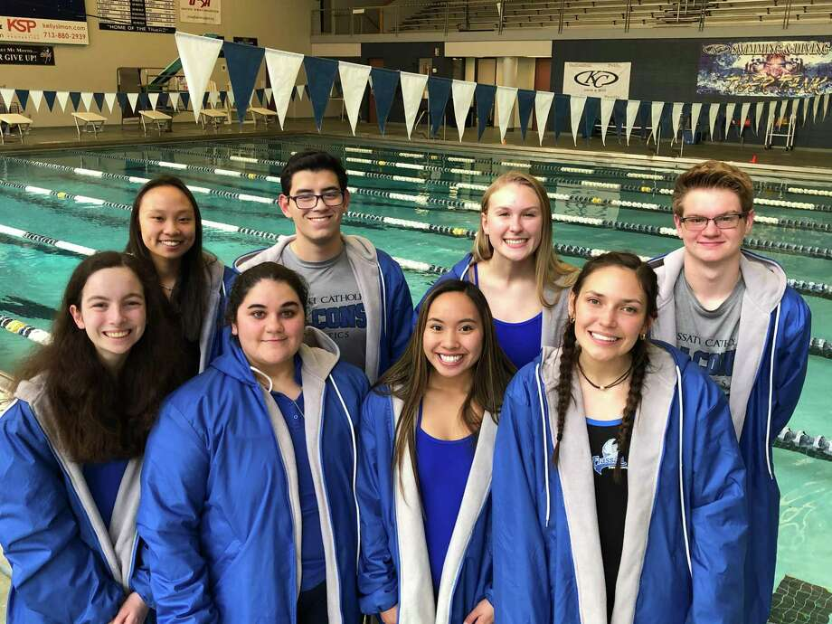 The Frassati Catholic swimming team seniors from the regional meet, Jan. 18, at the University of Houston: Back L-R: Emma Dihn, Luis Esparza, Genevieve Manning, John Okruhlik. Front L-R: Katie Spartz, Gabriella Borrello, Lauren Lacson, Mallory Hoskins. Photo: Frassati Catholic