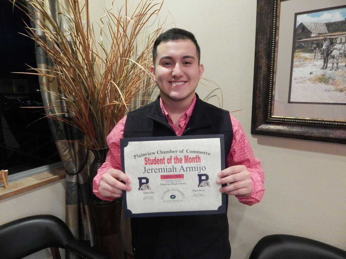 Jeremiah Armijo, an 18-year-old senior at Plainview High School, was recognized as the January Student of the Month.