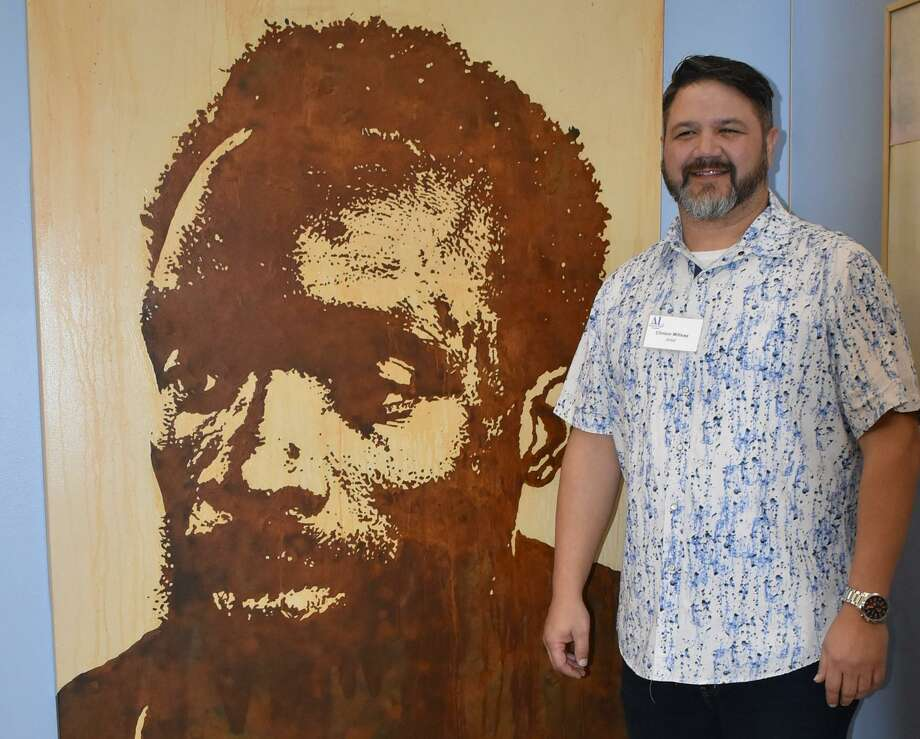 "Clinton Millsap of Klein/Spring won first place at the 50th Assistance League of Houston Celebrate Texas Art Show with his portrait ""Recover."" The exhibition, with 62 works of original art selected by juror Cara Manes, opened to the public Jan. 16 in the KRB Tower, 601 Jefferson, and will close March 13. Photo: Assistance League Of Houston / Assistance League Of Houston"