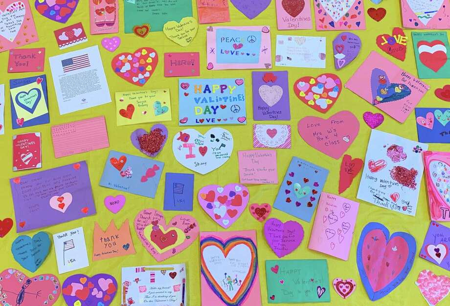 Congressman Jim Himes encourages his constituents to make valentines that will be delivered to veterans in the Fourth District. Photo: Contributed Photos /