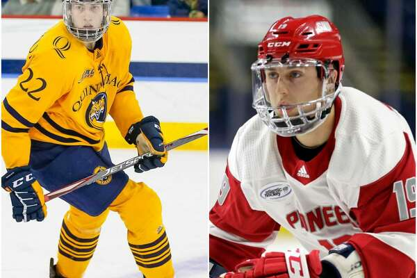 Quinnipiac freshman Skyler Brind'Amour (left); Sacred Heart Junior Matt Tugnutt (right).