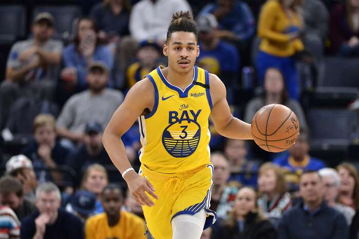 Golden State Warriors guard Jordan Poole (3) plays in the first half of an NBA basketball game against the Memphis Grizzlies Sunday, Jan. 12, 2020, in Memphis, Tenn. (AP Photo/Brandon Dill)