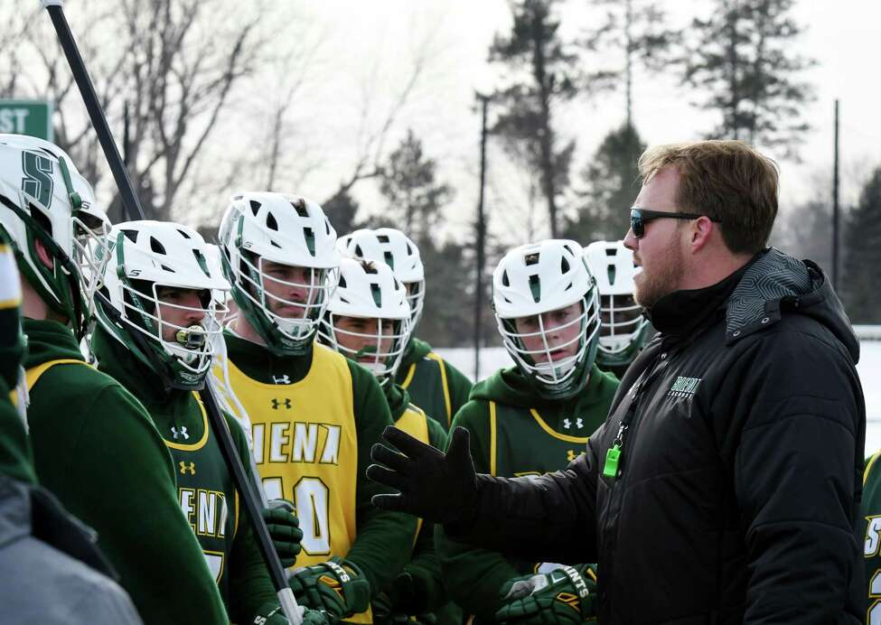 Siena lacrosse coach Liam Gleason speaks to his players during practice on Thursday, Jan. 23, 2020, at Siena College in Colonie, N.Y. (Will Waldron/Times Union)