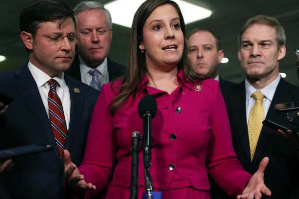 (L-R) Rep. Mike Johnson (R-LA), Rep. Mark Meadows (R-NC), Rep. Elise Stefanik (R-NY), Rep. Lee Zeldin (R-NY), and Rep. Jim Jordan (R-OH) speak with reporters in the Senate subway before the impeachment trial of President Donald Trump resumes at the U.S. Capitol on January 23, 2020 in Washington, DC. Democratic House managers will continue their opening arguments on Thursday as the Senate impeachment trial of President Donald Trump continues. (Photo by Mark Wilson/Getty Images)