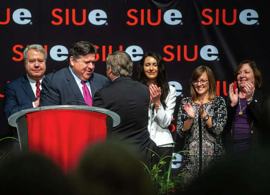 Illinois Gov. J.B. Pritzker is greeted by SIUE Chancellor Randy Pembrook Thursday. Photo: Nathan Woodside | Hearst Newspapers