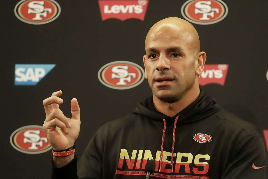 San Francisco 49ers defensive coordinator Robert Saleh speaks during a news conference at the team's NFL football training facility in Santa Clara, Calif., Thursday, Jan. 23, 2020. The 49ers will face the Kansas City Chiefs in Super Bowl 54. (AP Photo/Jeff Chiu) Photo: Jeff Chiu / Associated Press