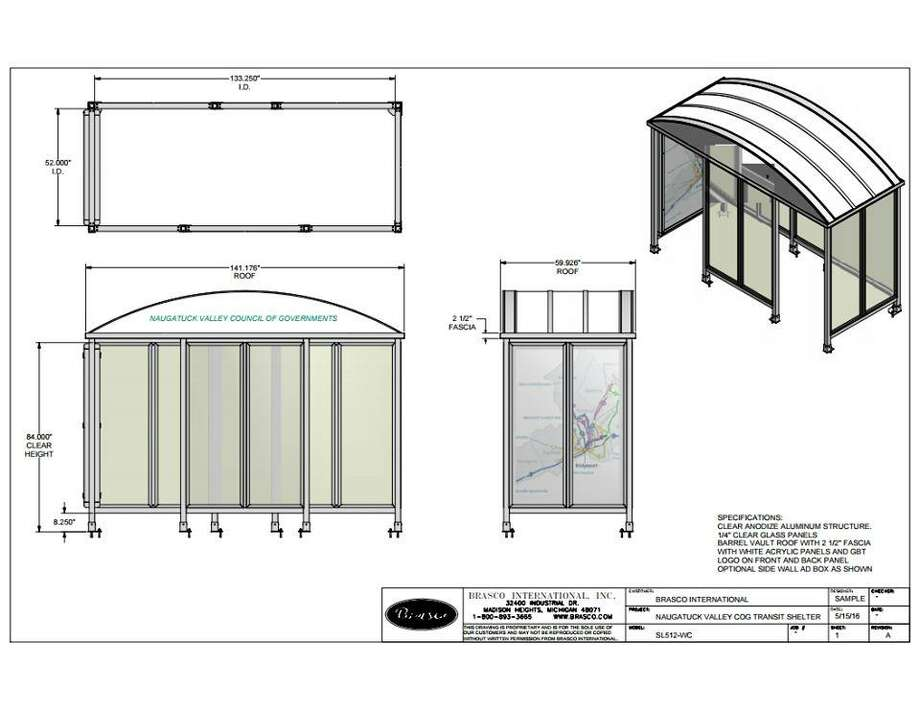 A rendering of the three new bus shelters coming to Ansonia this spring. Photo: Contributed Photo