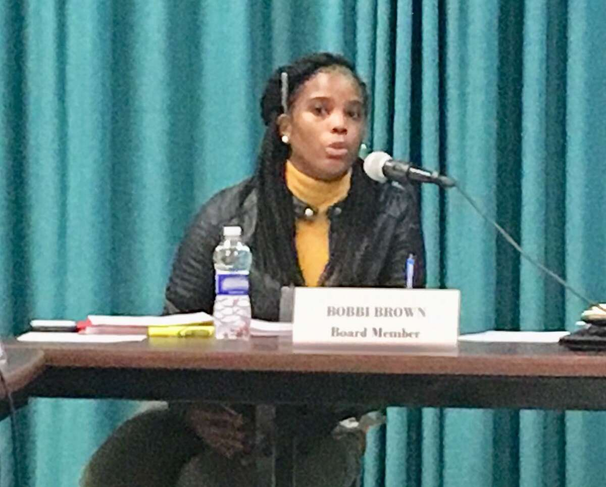 Bridgeport Board of Education member Bobbi Brown explains her no vote to naming Testani permanent superintendent. Jan. 13, 2020.
