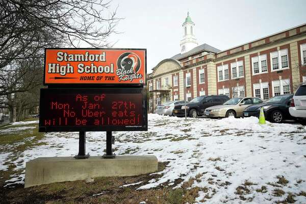 Display as a message on the marquee in front of Stamford High School on Jan. 23, 2020, students will no longer be able to pick up lunch order deliveries from Uber Eats, Door Dash and Grub Hub during school hours. According to a letter posted on the schools website, School officials are citing safety concerns.