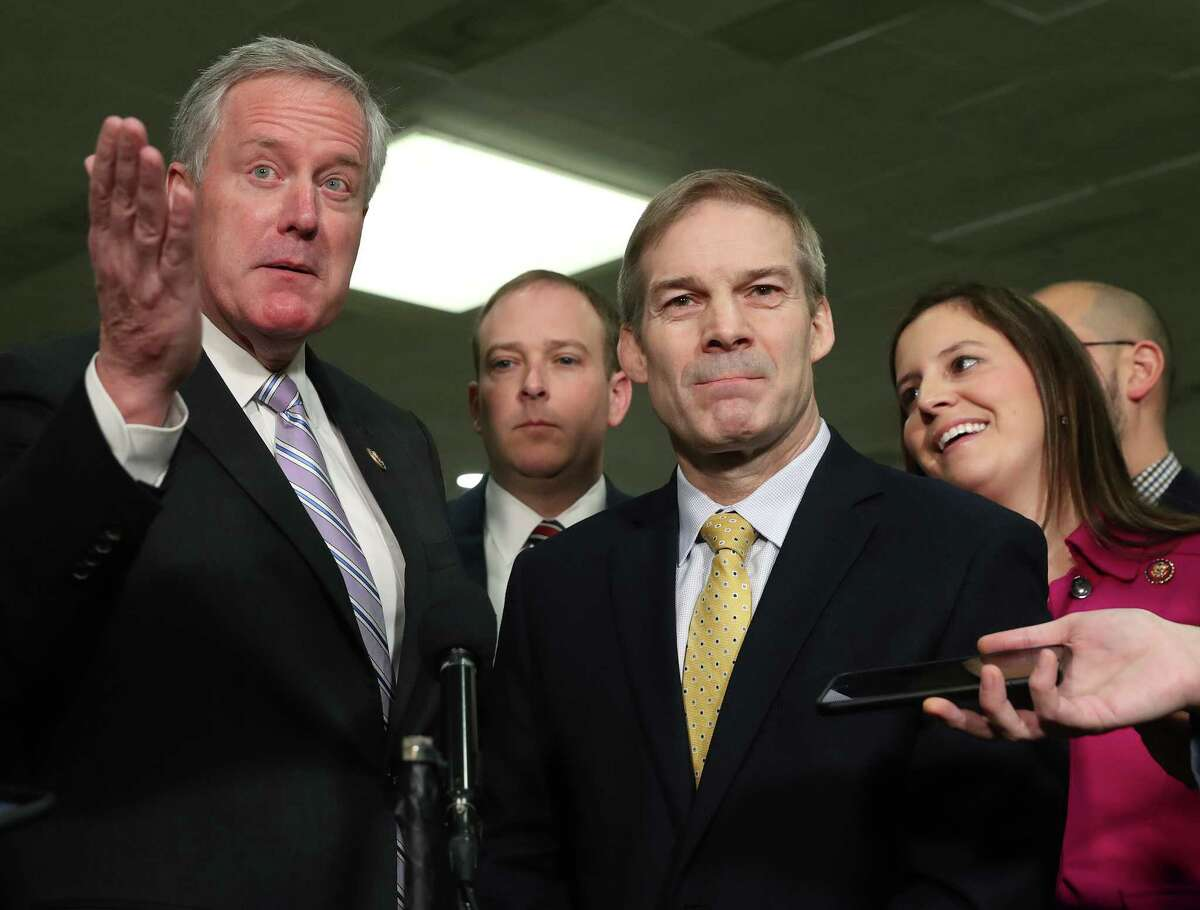 WASHINGTON, DC - JANUARY 23: (L-R) Rep. Mark Meadows (R-NC), Rep. Lee Zeldin (R-NY), Rep. Jim Jordan (R-OH) and Rep. Elise Stefanik (R-NY) speak with reporters in the Senate subway during the impeachment trial of President Donald Trump at the U.S. Capitol on January 23, 2020 in Washington, DC. Democratic House managers will continue their opening arguments on Thursday as the Senate impeachment trial of President Donald Trump continues.
