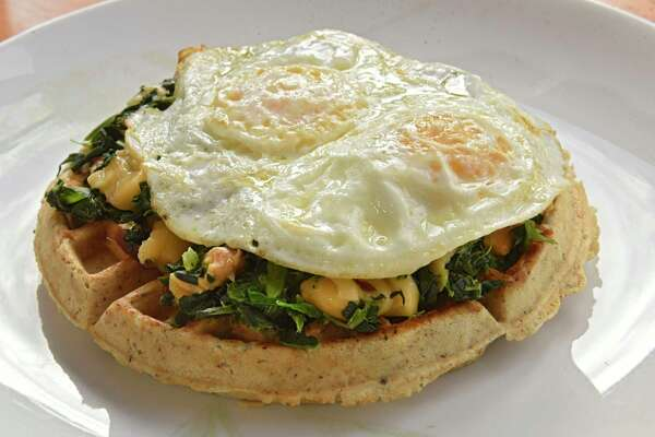Multigrain spinach and gouda waffle at Cafe Monocle on Wednesday, Jan. 15, 2020 in Cohoes, N.Y (Lori Van Buren/Times Union)