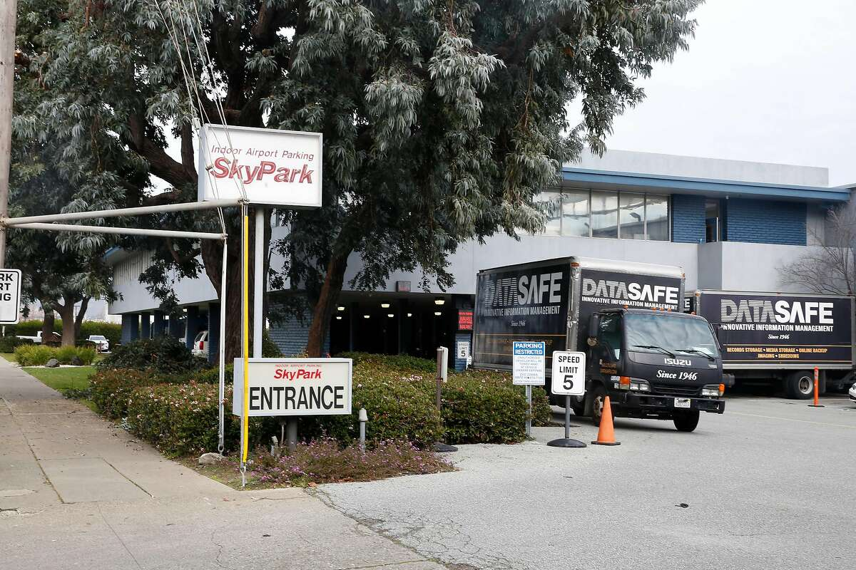 Signage for SkyPark and part of the facility is seen on Thursday, January 23, 2020 in San Bruno, Calif.