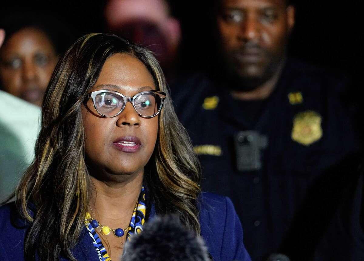 Houston ISD Interim Superintendent Grenita Lathan, pictured in January 2020, announced that all online and in-person classes were canceled Wednesday and Thursday amid winter storm conditions and widespread power outages.