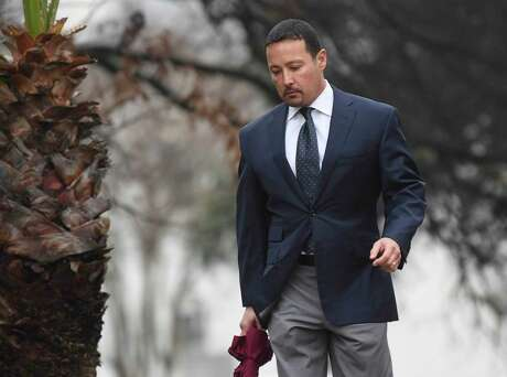 Brian Alfaro, a San Antonio oilman who was found guilty of seven counts of mail fraud last month, faces up to 20 years in prison on each count. He is scheduled to be sentenced June 22. He is pictured in January arriving for a federal court hearing.
