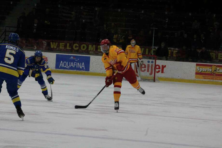Ferris' Jacob Willetts continues to be among the top scoring defensemen in the WCHA. (Pioneer file photo)