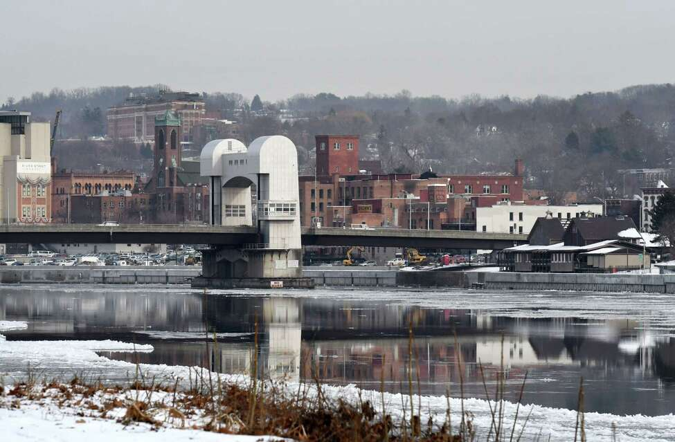 Troy skyline looking northeast toward the Green Island Bridge on Thursday, Jan. 23, 2020, seen from Hudson Shores Park in Watervliet, N.Y. (Will Waldron/Times Union)