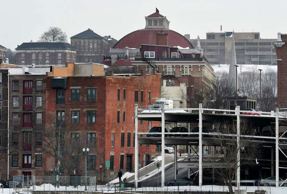 Troy skyline looking east toward Troy Savings Bank Music Hall, center, and the Rensselaer Polytechnic Institute campus on Thursday, Jan. 23, 2020, seen from Hudson Shores Park in Watervliet, N.Y. (Will Waldron/Times Union)