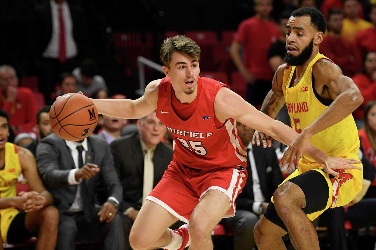 Fairfield guard Landon Taliaferro (25) dribbles while defended by Maryland's Eric Ayala (5) on Nov. 19 in College Park, Md.