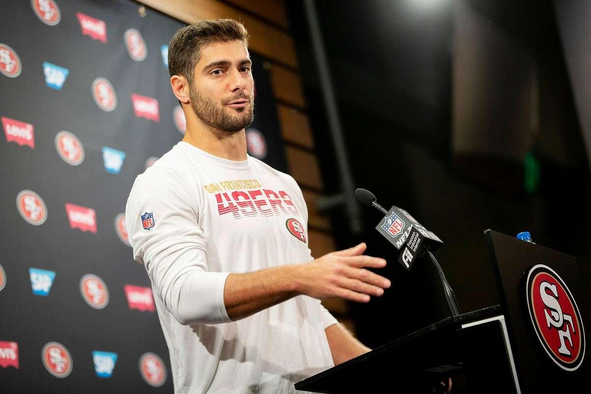 San Francisco 49ers quarterback Jimmy Garoppolo during a news conference at Levi's Stadium, Thursday, Jan. 23, 2020, in Santa Clara, Calif.