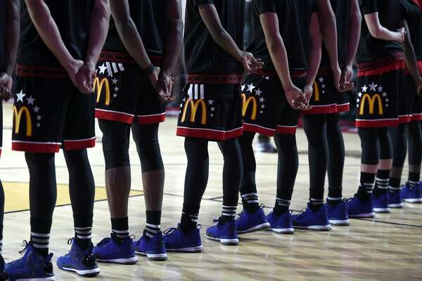 01 April 2015: McDonald's All-American Boy's East Team stands on the court during that national anthem in action during the McDonald's All American Game at the United Center, in Chicago, IL. (Photo by Robin Alam/Icon Sportswire/Corbis/Icon Sportswire via Getty Images)