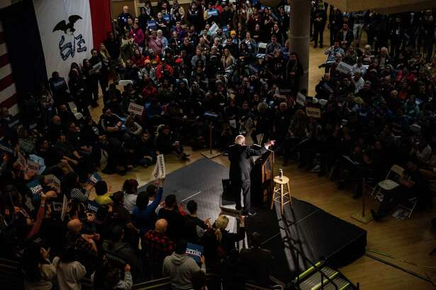 Sen. Bernie Sanders, I-Vt., speaks during a rally at the State Historical Museum of Iowa on Monday, Jan. 20, 2020, in Des Moines.